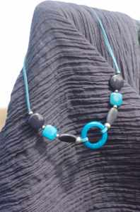 Collier Tagua Court Anneau turquoise